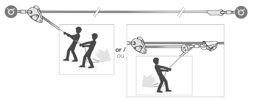 Líneas de vida temporales horizontales, Tensionado de línea GRILLON de Petzl en Orion Seguridad